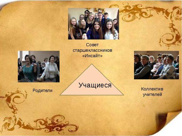 Учащиеся Совет старшеклассников «Инсайт» Коллектив учителей Родители