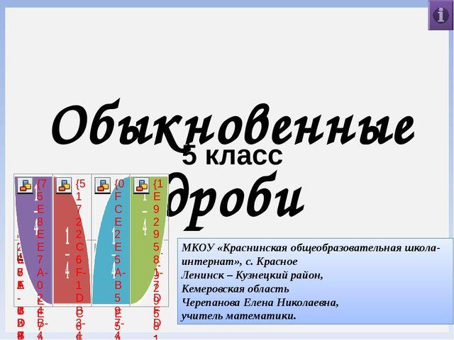 Обыкновенные дроби 5 класс МКОУ «Краснинская общеобразовательная школа-интерн...