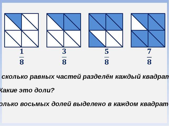 На сколько равных частей разделён каждый квадрат? Какие это доли? Сколько вос...