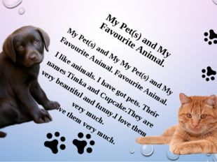 My Pet(s) and My My Pet(s) and My Favourite Animal. Favourite Animal. I lik