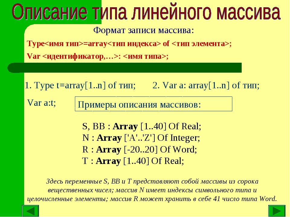 1. Type t=array[1..n] of тип; Var a:t; 2. Var a: array[1..n] of тип; Примеры...
