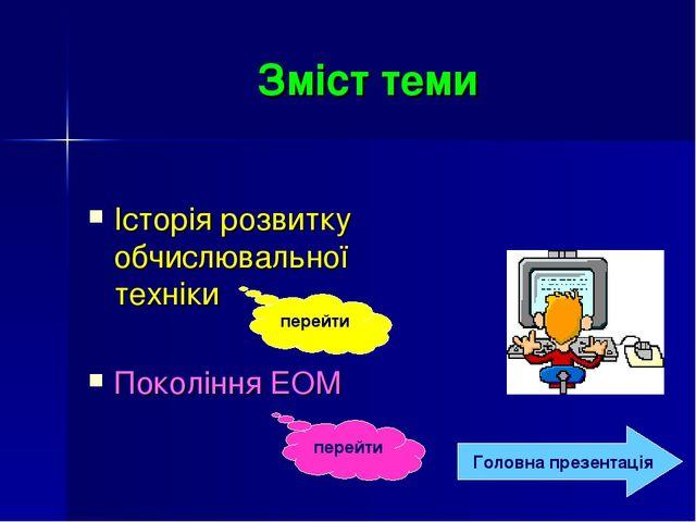 Зміст теми Історія розвитку обчислювальної техніки Покоління ЕОМ перейти пере...
