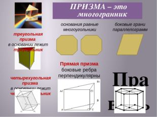 Правильная призма она прямая основание ее правильный многоугольник. ПРИЗМА