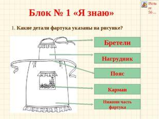 Блок № 1 «Я знаю» 1. Какие детали фартука указаны на рисунке? Бретели Нагрудн