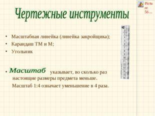 Масштабная линейка (линейка закройщика); Карандаш ТМ и М; Угольник указывает,