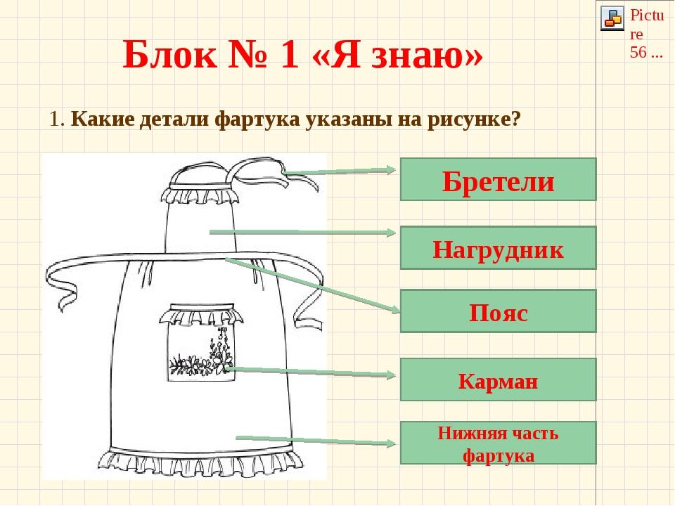 Блок № 1 «Я знаю» 1. Какие детали фартука указаны на рисунке? Бретели Нагрудн...
