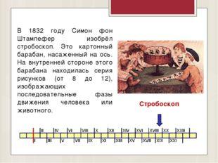 В 1832 году Симон фон Штампефер изобрёл стробоскоп. Это картонный барабан, на