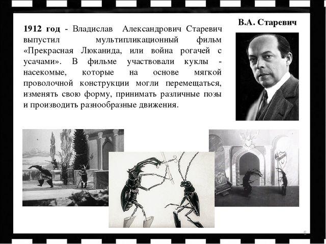 * 1912 год - Владислав Александрович Старевич выпустил мультипликационный фил...