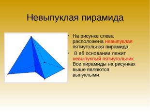 Невыпуклая пирамида На рисунке слева расположена невыпуклая пятиугольная пира