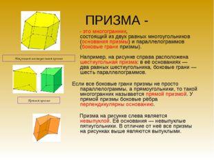 ПРИЗМА - - это многогранник, состоящий из двух равных многоугольников (основа