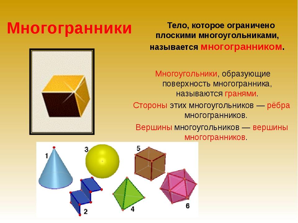 Многогранники Тело, которое ограничено плоскими многоугольниками, называется...