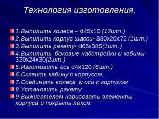 Технология изготовления. 1.Выпилить колеса – d45х10 (12шт.) 2.Выпилить корпус