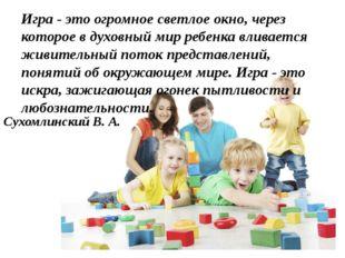 Игра - это огромное светлое окно, через которое в духовный мир ребенка вливае