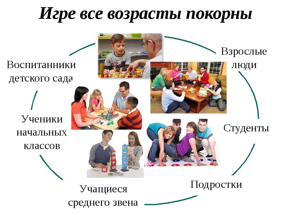 Игре все возрасты покорны Взрослые люди Воспитанники детского сада Учащиеся с...