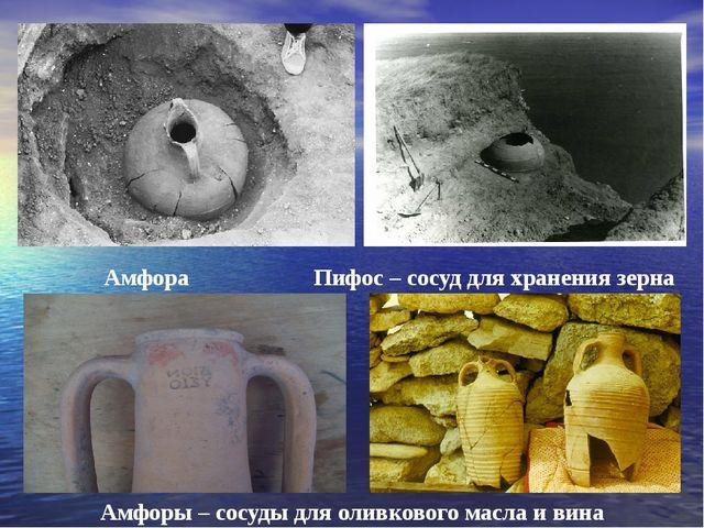 Амфора Пифос – сосуд для хранения зерна Амфоры – сосуды для оливкового масла...