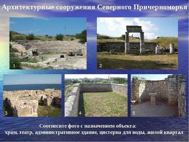 Архитектурные сооружения Северного Причерноморья 1 2 3 4 5 Соотнесите фото с...