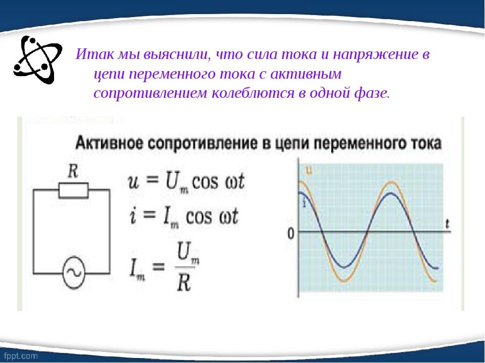Итак мы выяснили, что сила тока и напряжение в цепи переменного тока с активн...