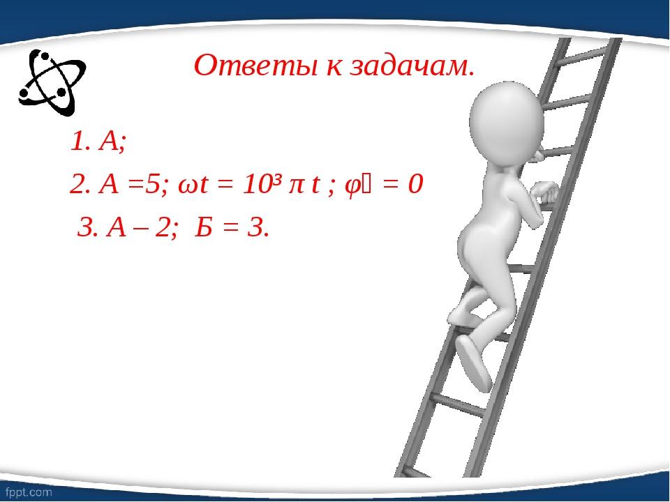 Ответы к задачам. 1. А; 2. А =5; ωt = 10³ π t ; φ₀ = 0 3. А – 2; Б = 3.