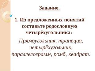 Задание. 1. Из предложенных понятий составьте родословную четырёхугольника: П