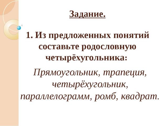 Задание. 1. Из предложенных понятий составьте родословную четырёхугольника: П...
