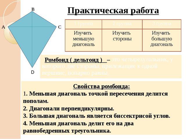Ромбоид ( дельтоид ) – Свойства ромбоида: 1. Меньшая диагональ точкой пересе...