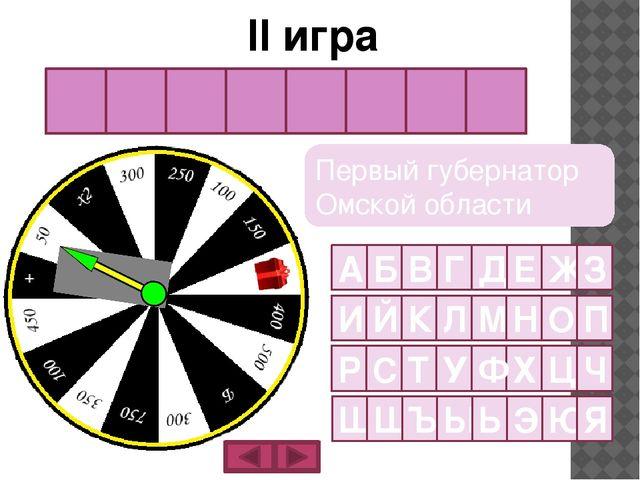 К а п ц е в и ч Первый губернатор Омской области II игра А Б В Г Д Е Ж З И Й...