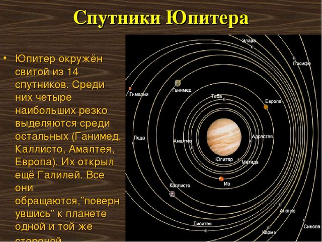 Спутники Юпитера Юпитер окружён свитой из 14 спутников. Среди них четыре наиб...