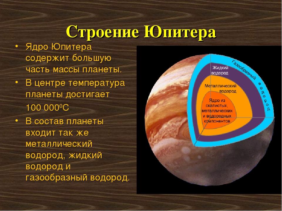 Строение Юпитера Ядро Юпитера содержит большую часть массы планеты. В центре...