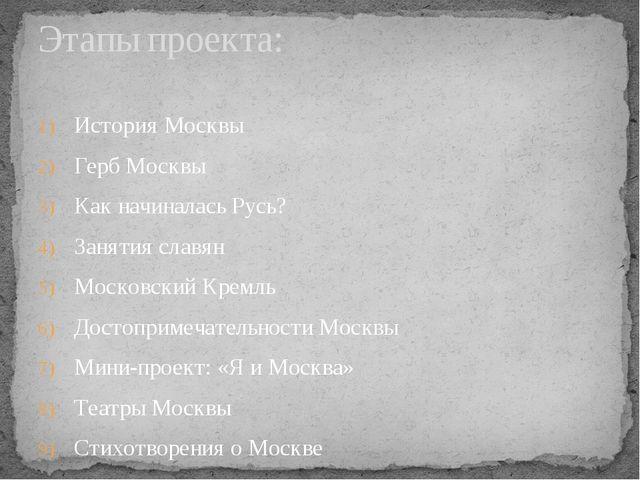 История Москвы Герб Москвы Как начиналась Русь? Занятия славян Московский Кре...