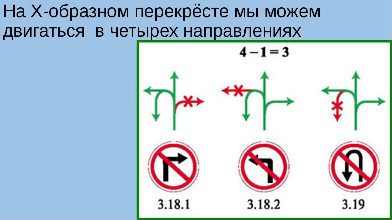 На Х-образном перекрёсте мы можем двигаться в четырех направлениях