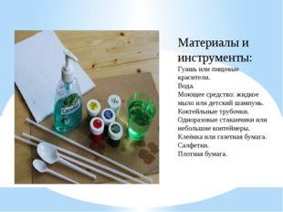 Материалы и инструменты: Гуашь или пищевые красители. Вода. Моющее средство: