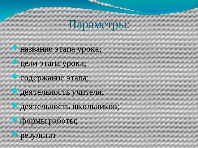 Параметры: название этапа урока; цели этапа урока; содержание этапа; деятельн...