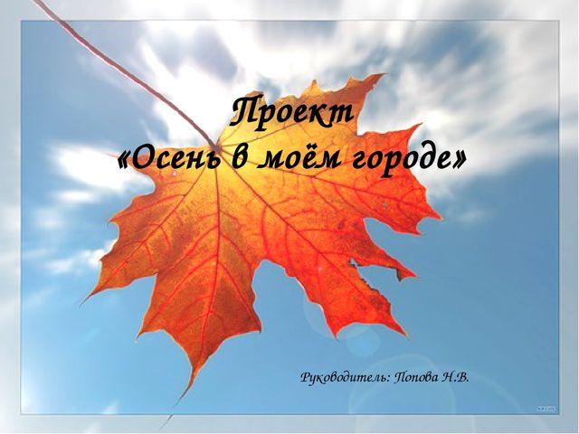 Проект «Осень в моём городе» Руководитель: Попова Н.В.