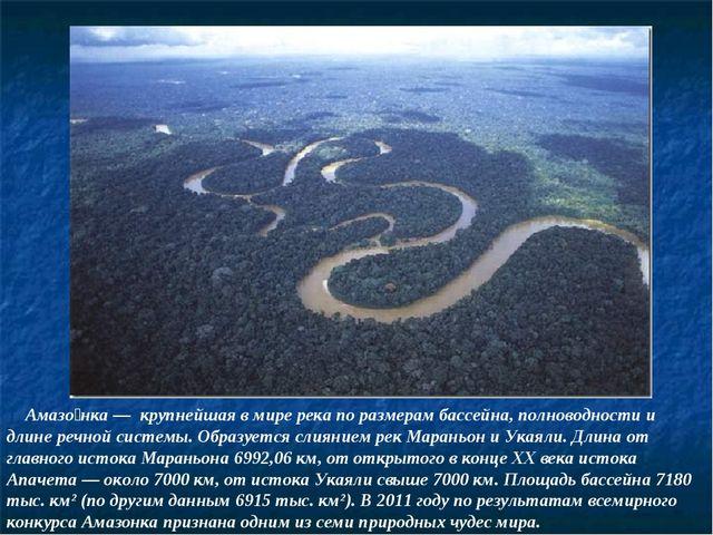 Амазо́нка — крупнейшая в мире река по размерам бассейна, полноводности и дли...