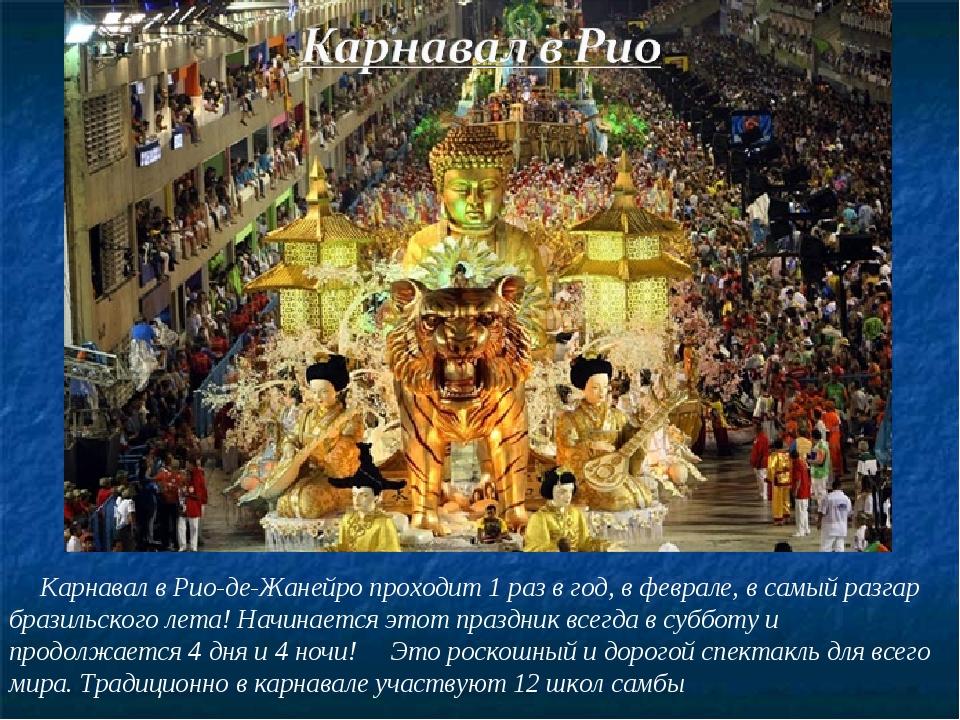 Карнавал в Рио-де-Жанейро проходит 1 раз в год, в феврале, в самый разгар бр...