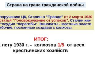 """Страна на гране гражданской войны По поручению ЦК, Сталин в """"Правде"""" от 2 мар"""