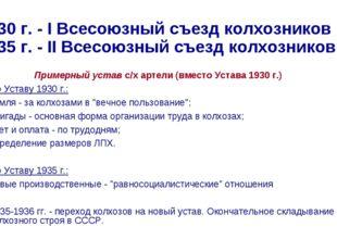 1930 г. - I Всесоюзный съезд колхозников 1935 г. - II Всесоюзный съезд колхоз