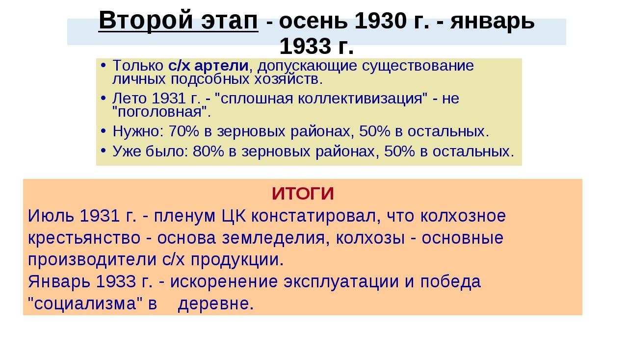 Второй этап - осень 1930 г. - январь 1933 г. Только с/х артели, допускающие с...