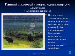киекова эльмира ринатовна Ранний палеозой ( кембрий, ордовик, силур ), 600 мл