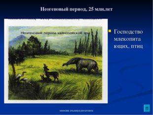 киекова эльмира ринатовна Неогеновый период, 25 млн.лет Господство млекопитаю
