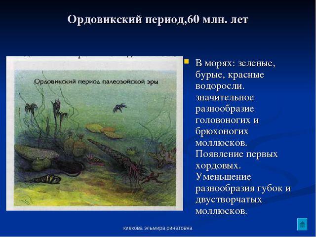киекова эльмира ринатовна Ордовикский период,60 млн. лет В морях: зеленые, бу...