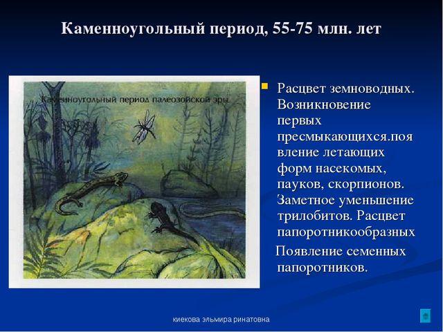киекова эльмира ринатовна Каменноугольный период, 55-75 млн. лет Расцвет земн...