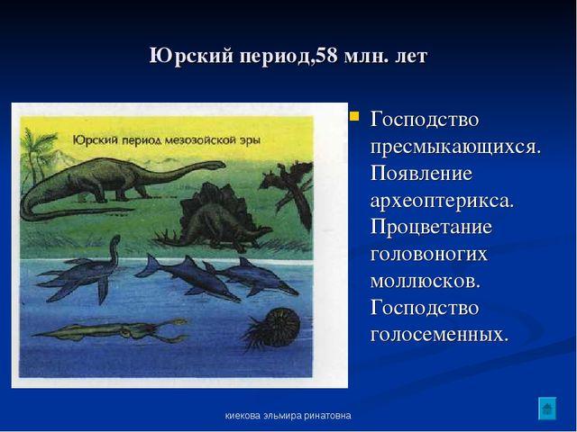киекова эльмира ринатовна Юрский период,58 млн. лет Господство пресмыкающихся...