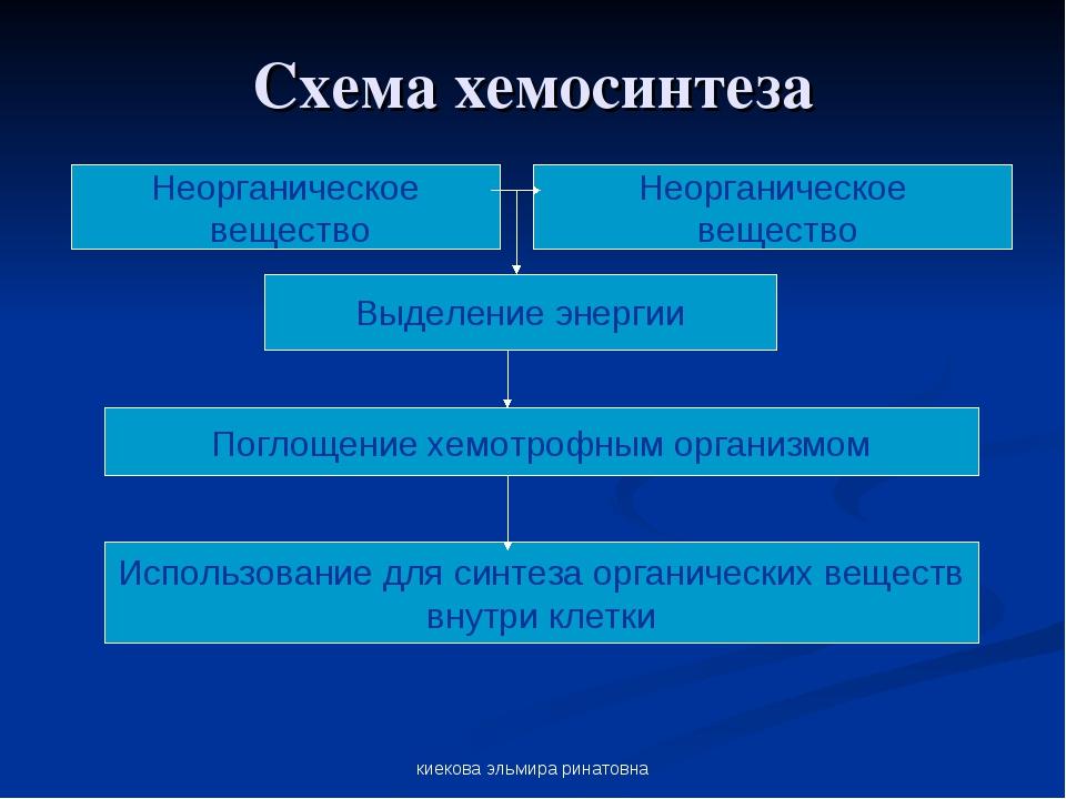 киекова эльмира ринатовна Схема хемосинтеза Неорганическое вещество Неорганич...