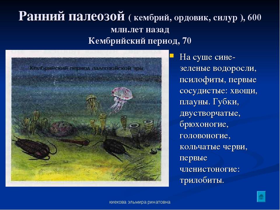 киекова эльмира ринатовна Ранний палеозой ( кембрий, ордовик, силур ), 600 мл...