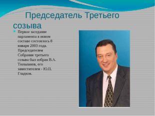 Председатель Третьего созыва Первое заседание парламента в новом составе сос