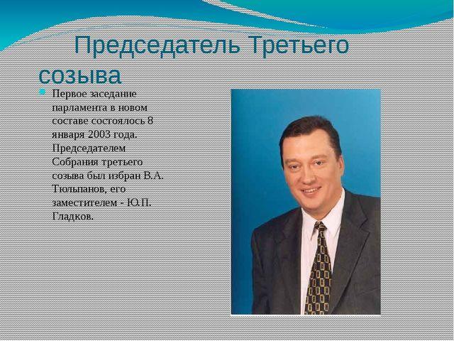 Председатель Третьего созыва Первое заседание парламента в новом составе сос...