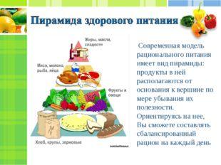 Современная модель рационального питания имеет вид пирамиды: продукты в ней