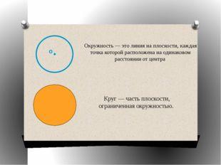 Окружность — это линия на плоскости, каждая точка которой расположена на оди
