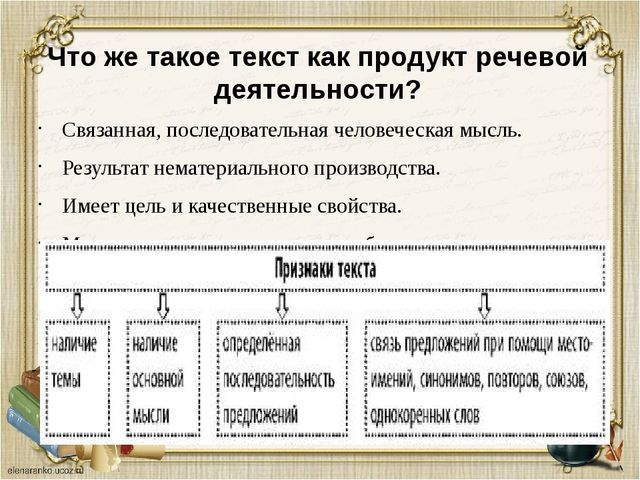 Что же такое текст как продукт речевой деятельности? Связанная, последователь...